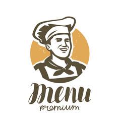 happy chef logo restaurant bakery food symbol vector image