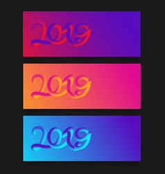 happy new year 2019 card with colorful neon vector image
