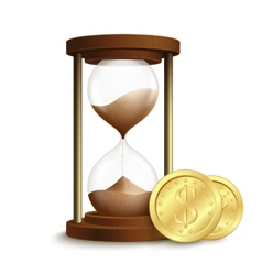 Hourglass with coins poster vector image