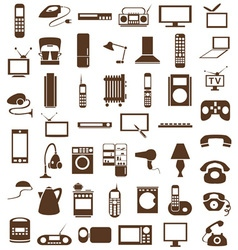 household appliances icons on white vector image