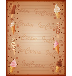 ice cream sweet frame background vector image
