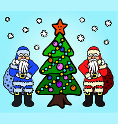 image with cartoon santa claus and father frost vector image