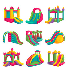 inflatable bright castle fun for playground set vector image