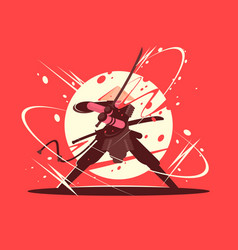 japanese battle samurai with katana vector image