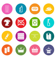 laundry icons many colors set vector image