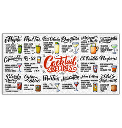 lettering set of cocktails recipes template for vector image