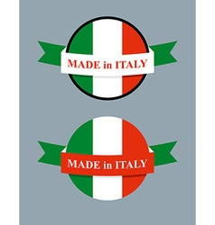 Made in italy product logo map of italy and ribbon vector