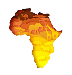 Mainland africa map with wildlife vector
