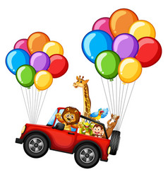 Many animals on jeep with colorful balloons vector