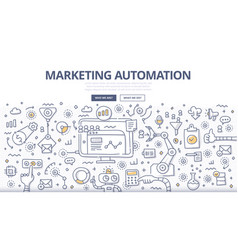 Marketing automation doodle concept vector