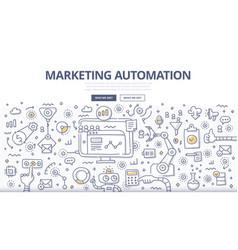 marketing automation doodle concept vector image