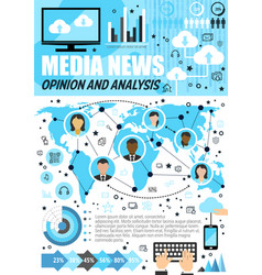 Media analysis and public opinion infographics vector