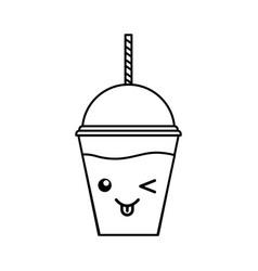 Milkshake plastic cup vector