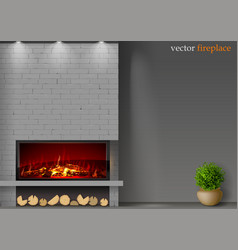 Modern fireplace with fire vector