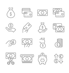 money linear icons set on white background vector image