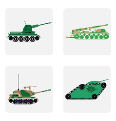Monochrome ikon set with military equipment tanks vector