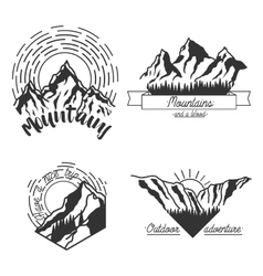 Mountains black emblems vector
