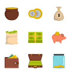 Necessary funds icons set flat style vector
