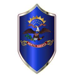 North dakota state flag on a crusader style shield vector