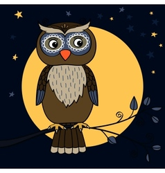 owl tree moon vector image