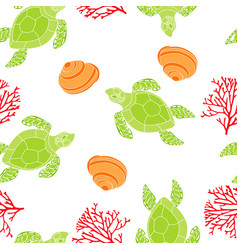 pattern with turtle vector image