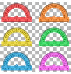protractor ruler plastic transparent vector image