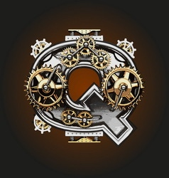 Q letter with gears vector