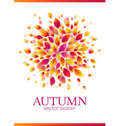 red autumn leaves circle poster template vector image