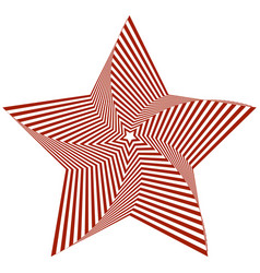 Red five-pointed star creates an optical vector