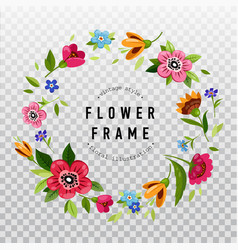 Round flower frame for invitation or greeting card vector