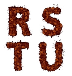 Rstu english alphabet letters made of coffee vector