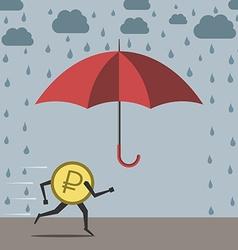 Ruble running to umbrella vector image