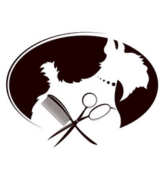 Scissors and comb for grooming dogs vector