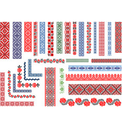 Seamless ethnic embroidery patterns vector