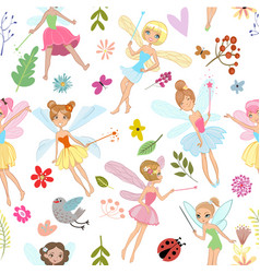 Seamless pattern with cartoon fairies vector