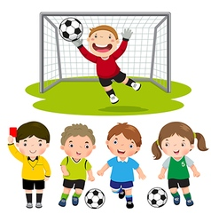 set cartoon soccer kids with different pose vector image