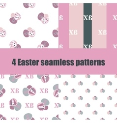set Easter seamless pattern with eggs vector image
