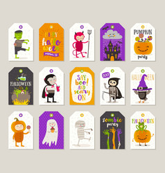 set halloween gift tags and labels vector image