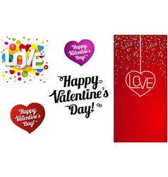 set happy valentines day or vector image