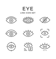 set line icons of eye vector image