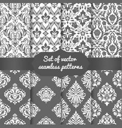 Set of damask seamless pattern vector