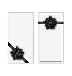 set of holiday gift card with black ribbon and bow vector image