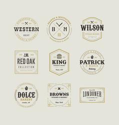 Set retro vintage hipster sign emblem design vector