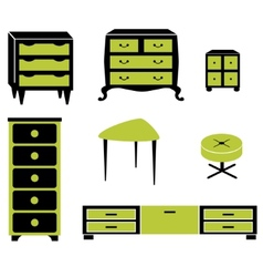 Set silhouettes of cupboard chests black interior vector image