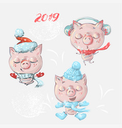 set with funny cute cartoon pigs for new vector image