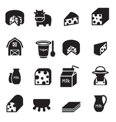 silhouette cheese icons set vector image