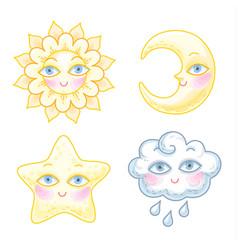 sky cartoon characters vector image