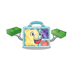 Smiling lunch box character shape holding money vector
