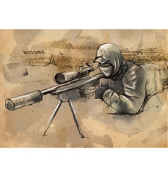 Sniper Shooter - Hand drawn vector