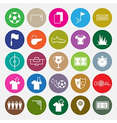 Soccer icons set circle vector image